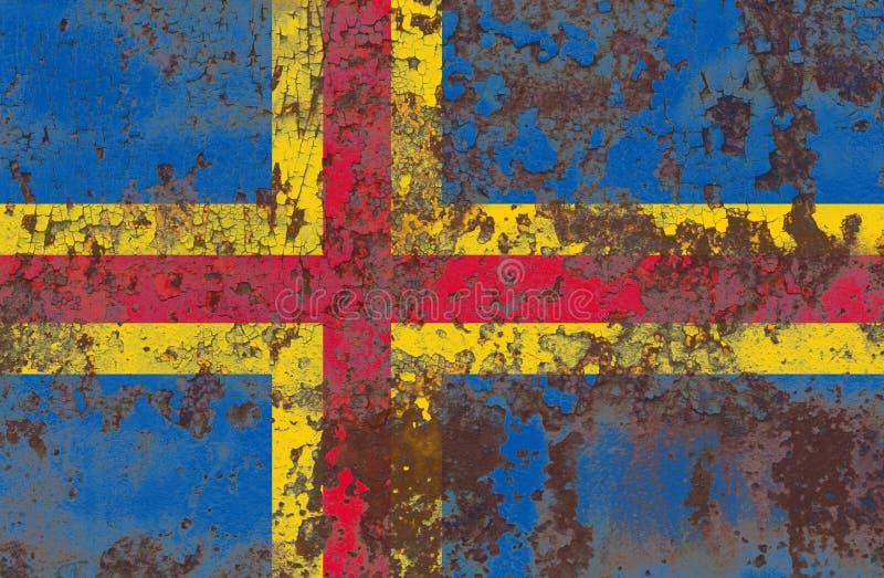 Aland grunge vlag, vlag van het grondgebied van Finland de afhankelijke stock foto's
