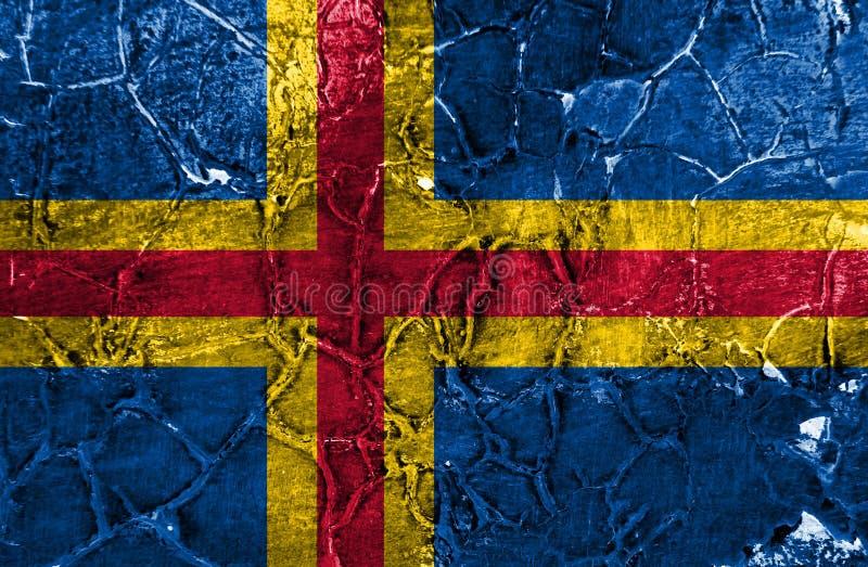 Aland grungeflagga, Finland beroende territoriumflagga royaltyfri fotografi