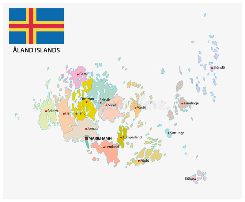 Aland Islands Administrative And Political Map With Flag Stock