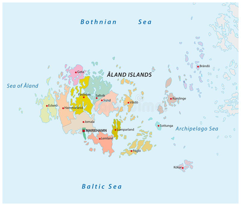 Aland Islands Administrative And Political Map Stock Vector