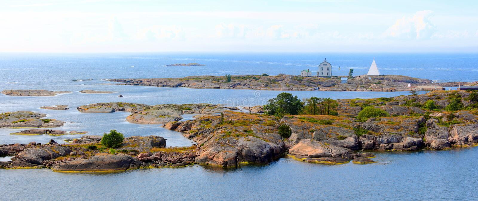 Aland Islands archipelago, Kobba Klintar, panorama. Aland archipelago with its tiny rocky islands. One of these is Kobba Klintar, an old pilot station on sea stock images