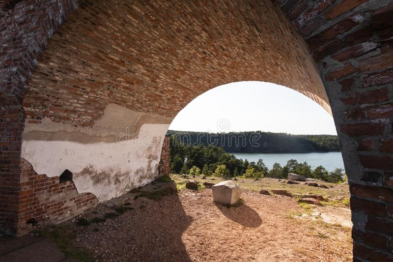 Aland Islands, Finland - July 12, 2019 - Bomarsund Fortress, built by the Russian Empire in 1832 and destroyed during the Crimean. Aland Islands, Finland royalty free stock photo
