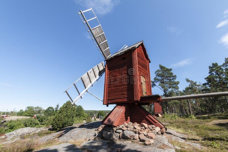 Aland Islands, Finland - July 12, 2019 - Jan Karlsgorden Ethnographic Museum near Castelholm Castle. Old  windmills. Aland Islands, Finland - Jan Karlsgorden royalty free stock photography