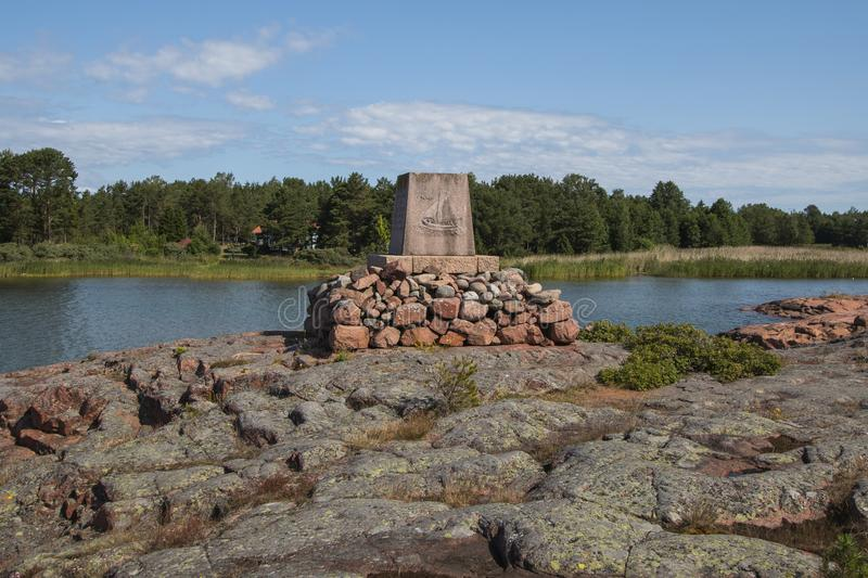 Aland Islands, Finland - July 12, 2019 - Monument to postal workers on the waterfront. Aland Islands, Finland - Monument to postal workers on the waterfront stock photos