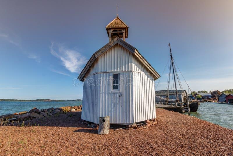 Aland Islands, Finland - July 12, 2019 - Sjöfararkapellet Church in Mariehamn. Aland Islands, Finland - Sjöfararkapellet Church in Mariehamn, Baltic sea royalty free stock images