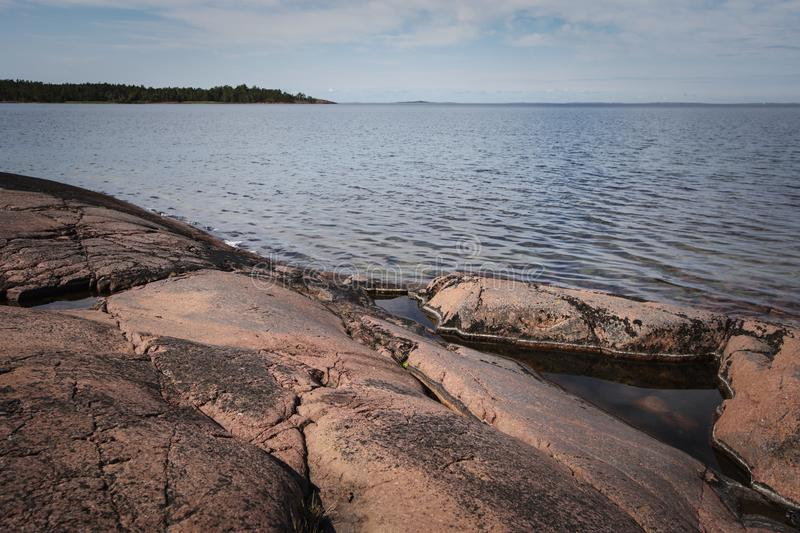 Aland Islands, Finland  - View of the embankment. Coast of the Baltic Sea. Aland Islands, Finland  - View of the embankment with  on the Aland Islands. Coast of stock photography