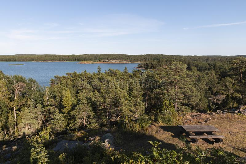 Aland Islands, Finland  - View of the embankment. Coast of the Baltic Sea. Aland Islands, Finland  - View of the embankment with  on the Aland Islands. Coast of royalty free stock photos