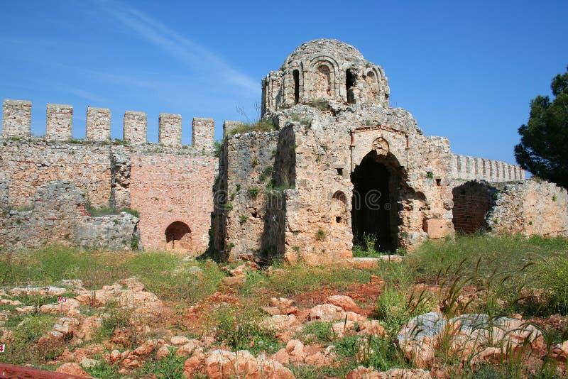 alanya城堡详细资料 免版税库存照片