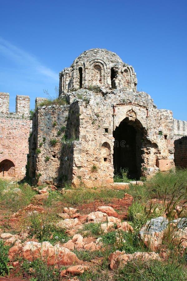 alanya城堡详细资料 免版税库存图片