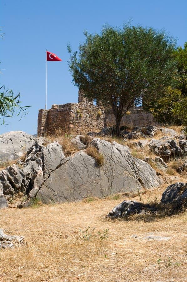alanya堡垒无背长椅废墟 免版税图库摄影