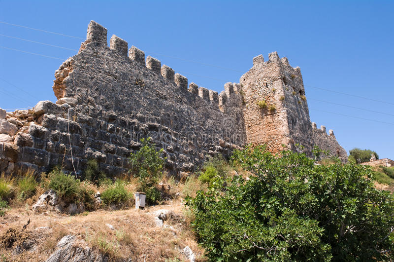 alanya堡垒无背长椅废墟 免版税库存照片