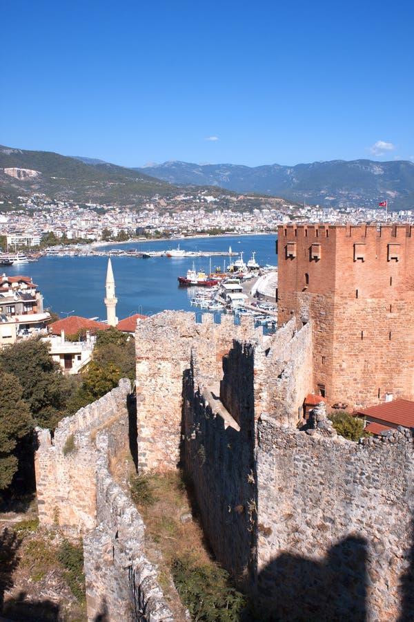 Alanya,土耳其 红色塔 Kızıl Kule 免版税图库摄影