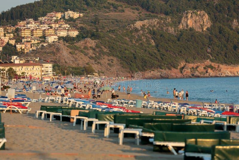 Alanya - última hora de la tarde en Cleopatra Beach foto de archivo