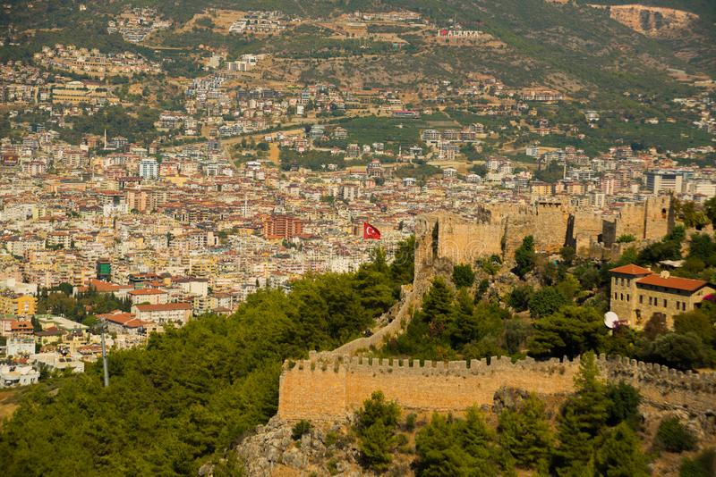 Alanya Kalesi. View of the walls of the old fortress and the city. Ruins of the fortress of Alanya.Brick wall. Castle in Turkey. Alanya Kalesi. View of the walls royalty free stock photos