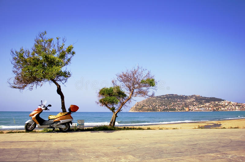 Alanya peninsula view from beach stock photography