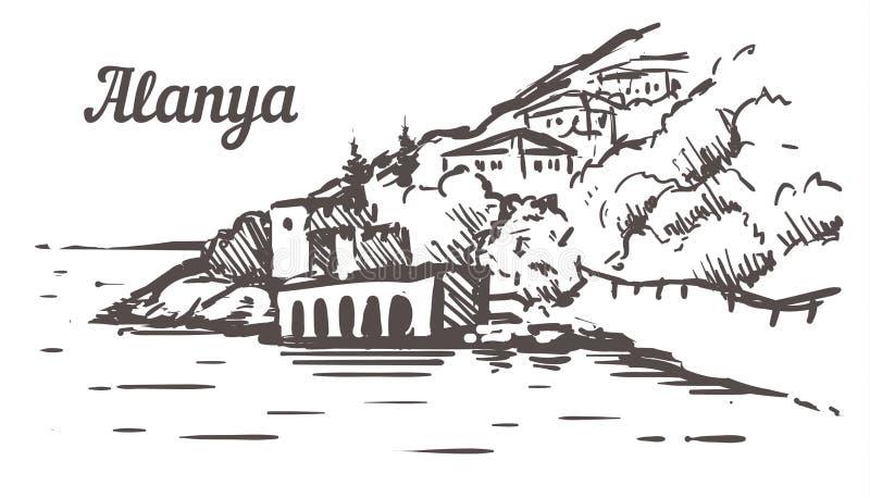 Alanya Shipyard Tersane sketch. Alanya, Turkey hand drawn illustration. Isolated on white background stock illustration