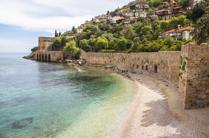 Alanya slott, Turkiet royaltyfria bilder