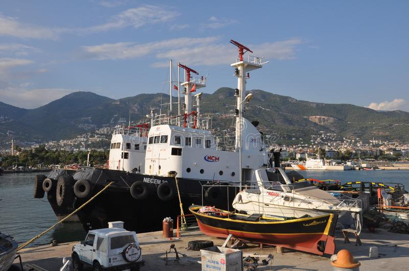 Fire rescue boats in the port of Alanya. Water safety concept royalty free stock photo