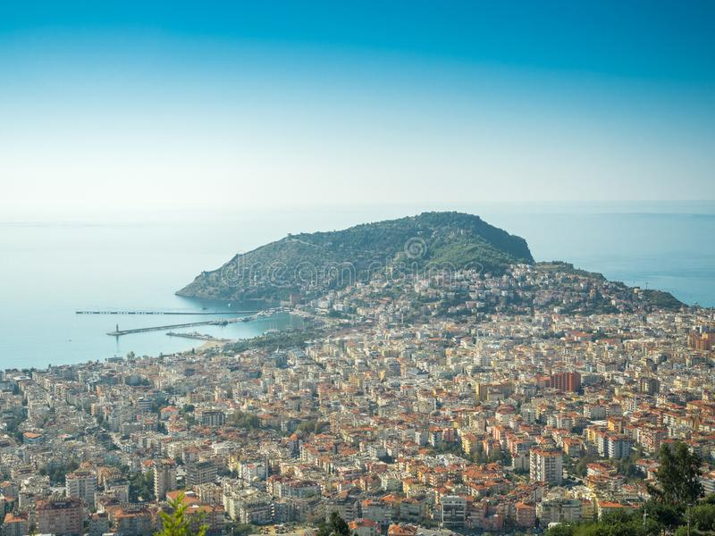 Alanya, Turkey. Beautiful panoramic top view of the city of Alanya and the Mediterranean Sea from the mountain. Vacation postcard stock photography