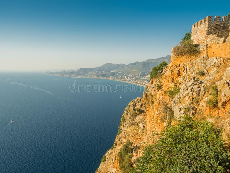 Alanya, Turkey. Beautiful view from the fortress Alanya Castle of the Mediterranean Sea and Cleopatra beach at sunset. Vacation stock images