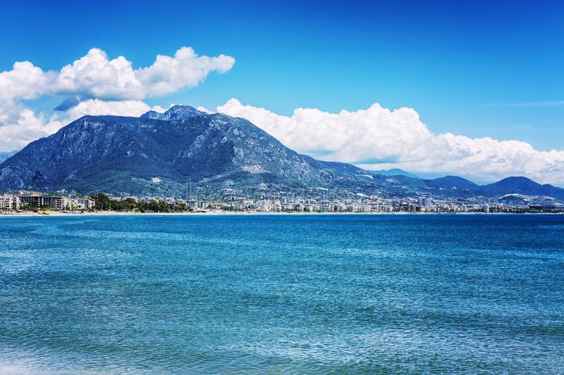 Alanya, Turkey, 05/08/2019: Beautiful view of the resort city on the sea in the mountains. Horizontal stock images