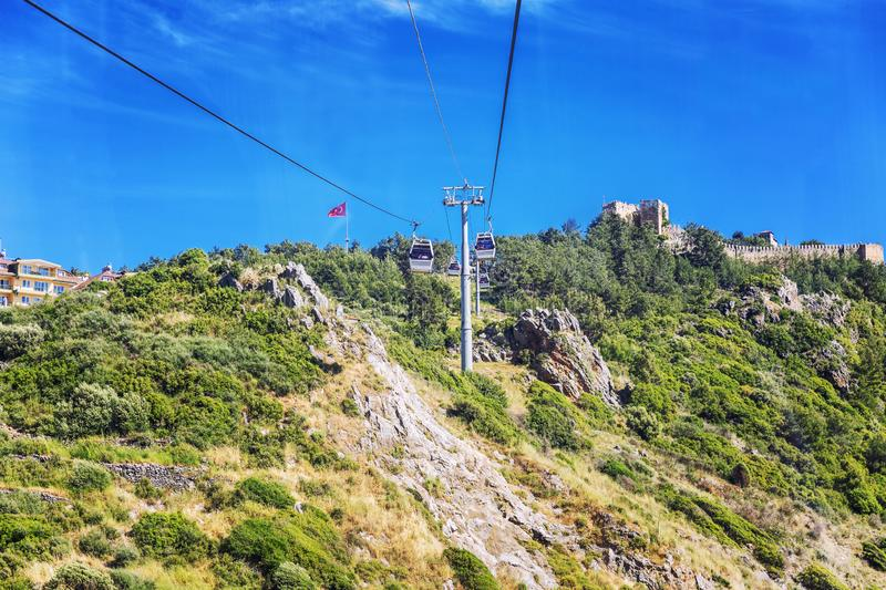 Alanya, Turkey, 05/08/2019: Cable car in the city. Booths with people riding on cables against a blue sky. Horizontal stock images