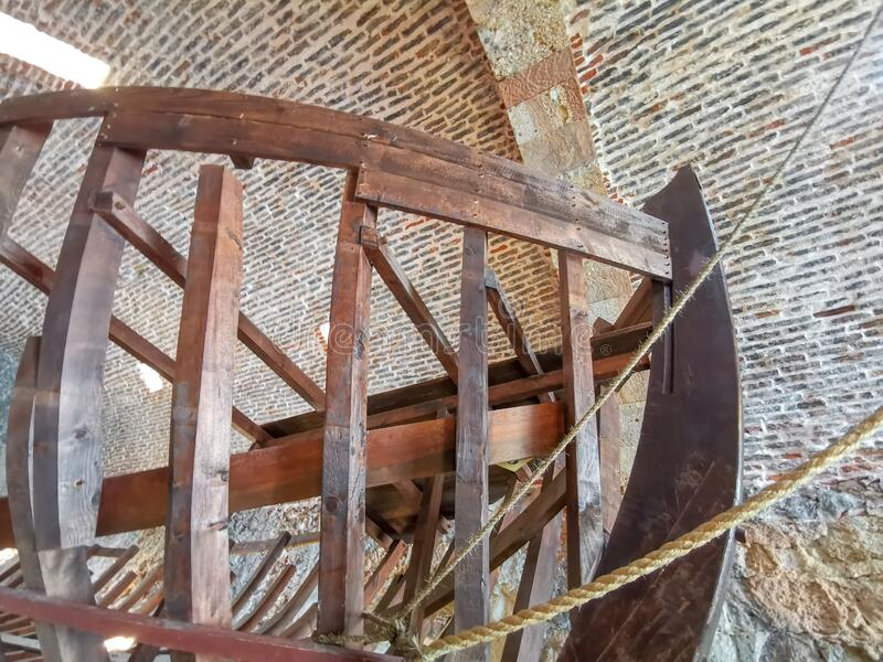 Alanya, Turkey - 30 september, 2019: Fragment of the wooden frame of an ancient floating ship in the form of a museum. Exhibit in an old Turkish Alanya shipyard royalty free stock photography