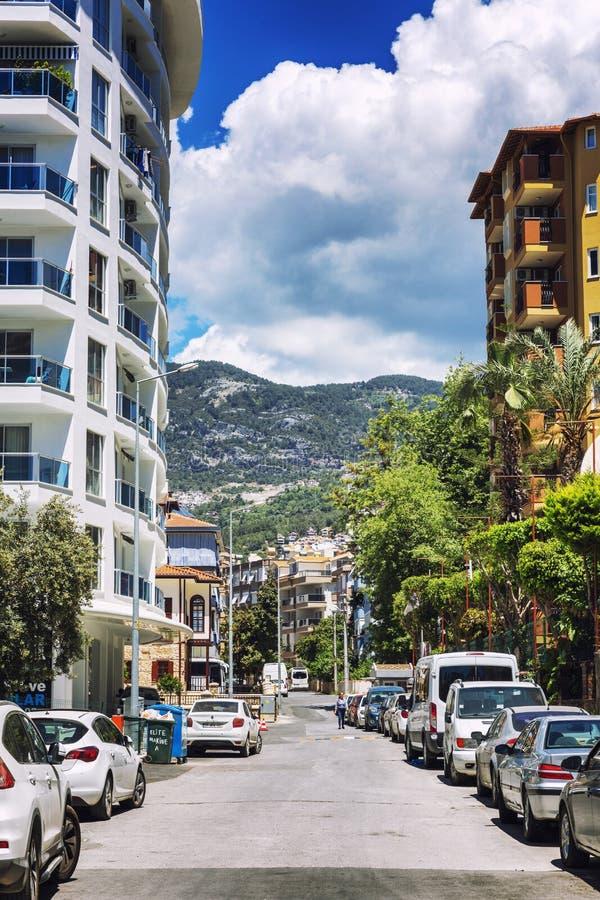 Alanya, Turquie, 05/08/2019 : Rue de la station touristique du sud photo libre de droits