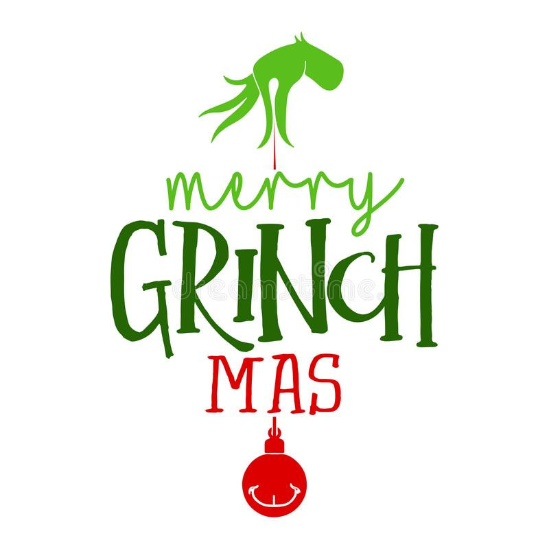 Merry Christmas with Grinch - Calligraphy phrase for Christmas. royalty free illustration