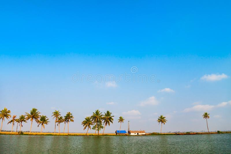 Alappuzha backwaters landscape in Kerala. State in India royalty free stock photo