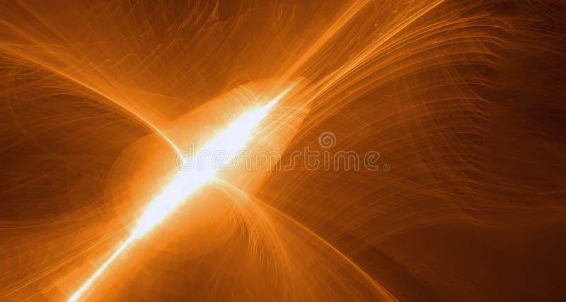 Alaranjado abstrato, amarelo, luz do ouro incandesce, os feixes, formas no fundo escuro ilustração do vetor