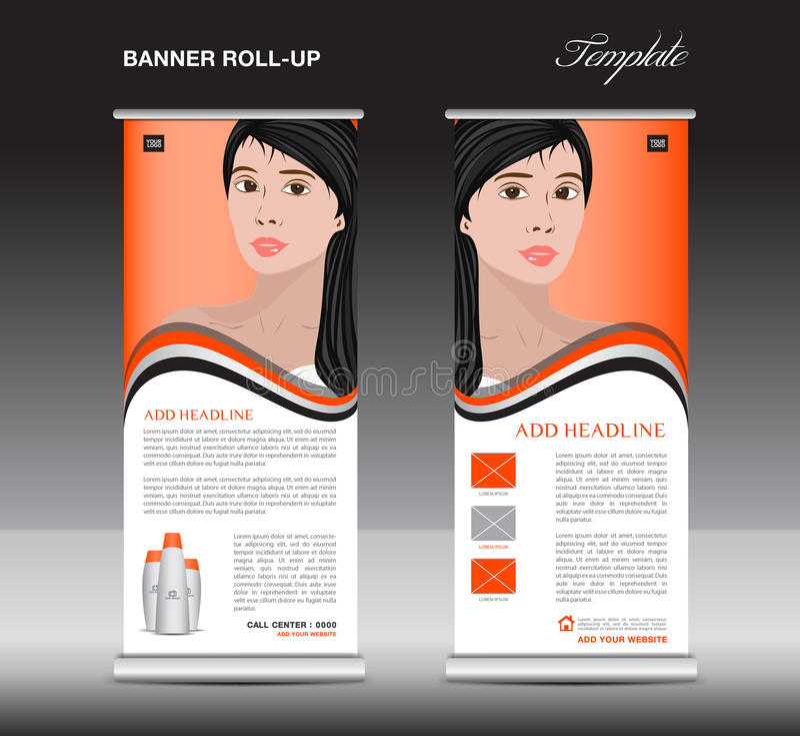 Alaranjado role acima o molde da bandeira, cosméticos estão o projeto, negócio ilustração royalty free