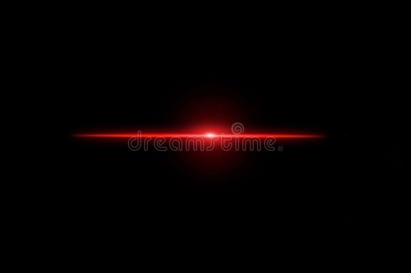 Alargamento claro vermelho da lente no fundo preto ilustração do vetor