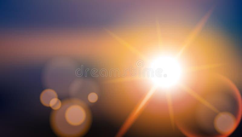 Alargamento da lente do efeito especial da luz solar Fundo de brilho borrado ilustração stock