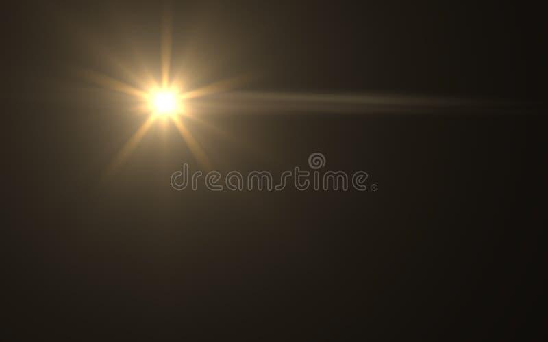 Alargamento da lente ou alargamento da estrela no fundo preto ilustração do vetor