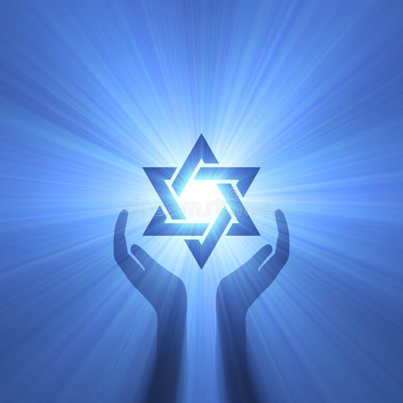 Alargamento da luz da mão da estrela de David ilustração royalty free