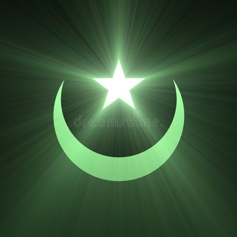Alargamento da luz verde da estrela e da lua ilustração royalty free