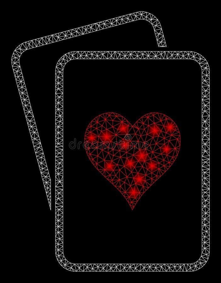 Alargamento Mesh Carcass Hearts Gambling Cards com pontos claros ilustração do vetor