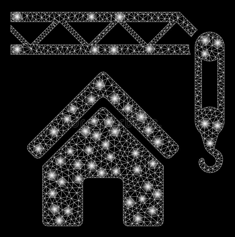 Alargamento Mesh Carcass Home Construction com pontos do alargamento ilustração do vetor