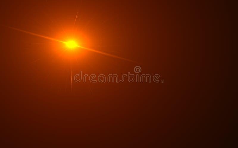 Alargamento natural da lente Luz do alargamento da lente sobre o preto ilustração royalty free