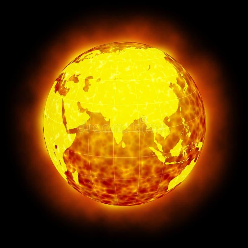 Alargamento quente da terra do globo isolado ilustração do vetor