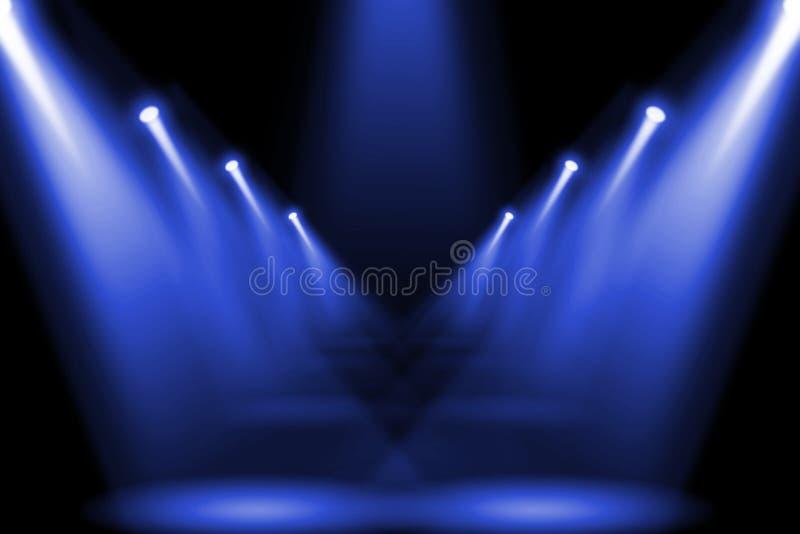Alargamento roxo azul abstrato da iluminação no lugar central do assoalho ilustração stock
