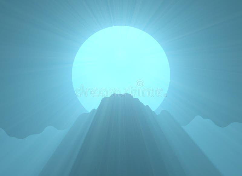 Alargamento superior da luz de Lua cheia da montanha ilustração do vetor