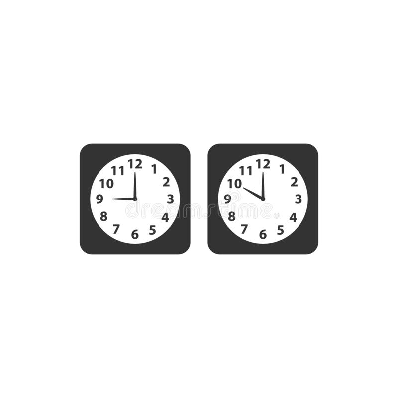 Alarm analog clock black square vector icon set. vector illustration
