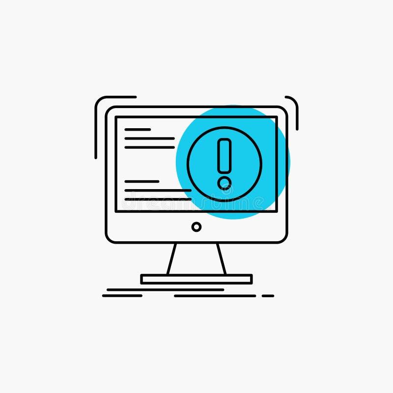 Alarm, Antivirus, Angriff, Computer, Virus Linie Ikone lizenzfreie abbildung
