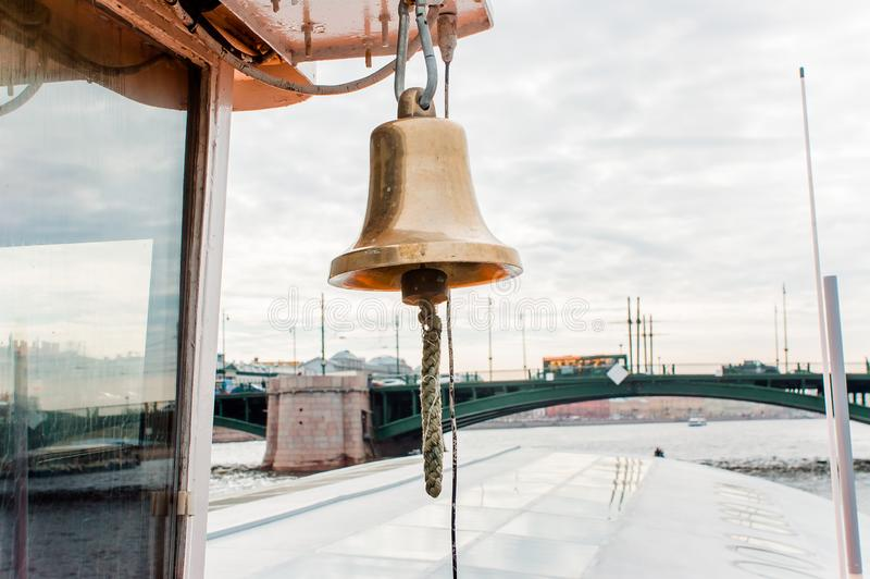 Alarm bell on the boat royalty free stock photo
