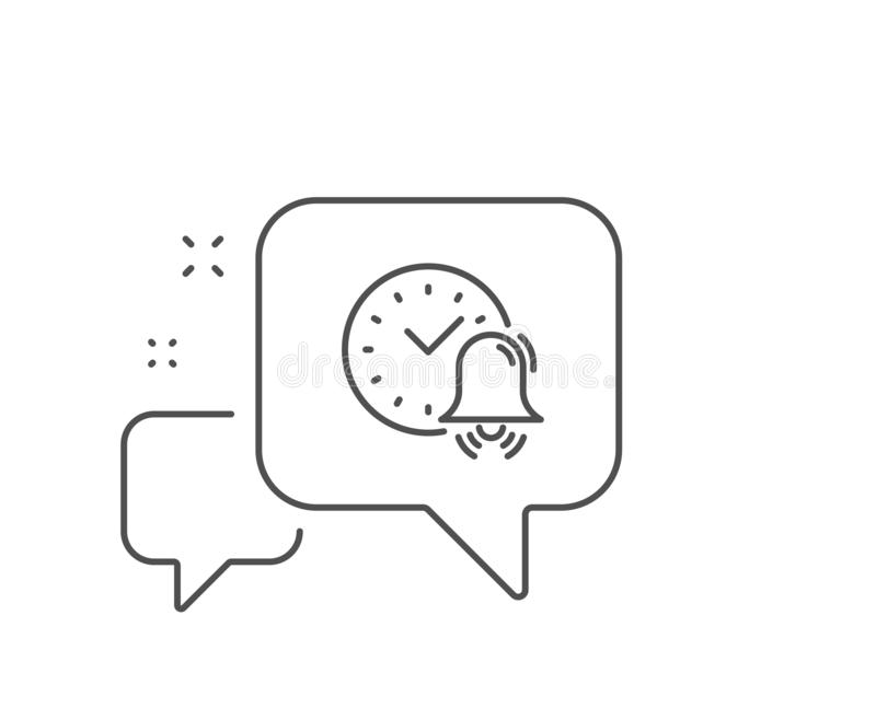 Alarm bell line icon. Time sign. Vector. Alarm bell line icon. Chat bubble design. Time or watch sign. Outline concept. Thin line alarm bell icon. Vector royalty free illustration