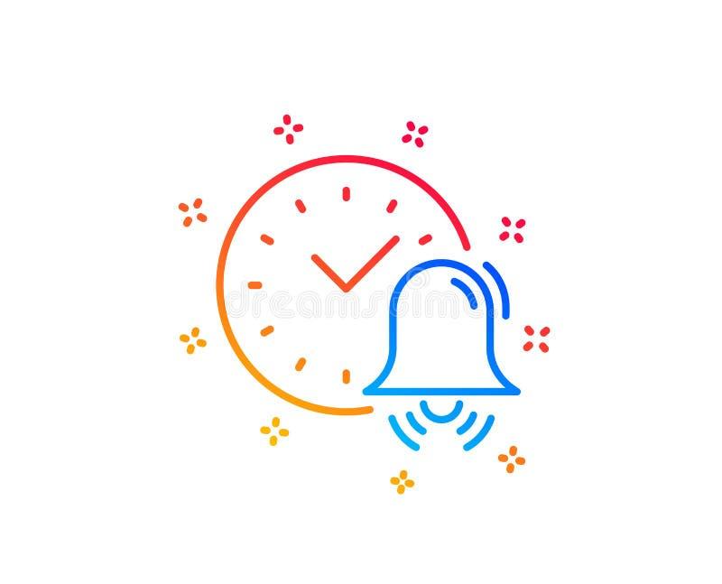 Alarm bell line icon. Time sign. Vector. Alarm bell line icon. Time or watch sign. Gradient design elements. Linear alarm bell icon. Random shapes. Vector vector illustration