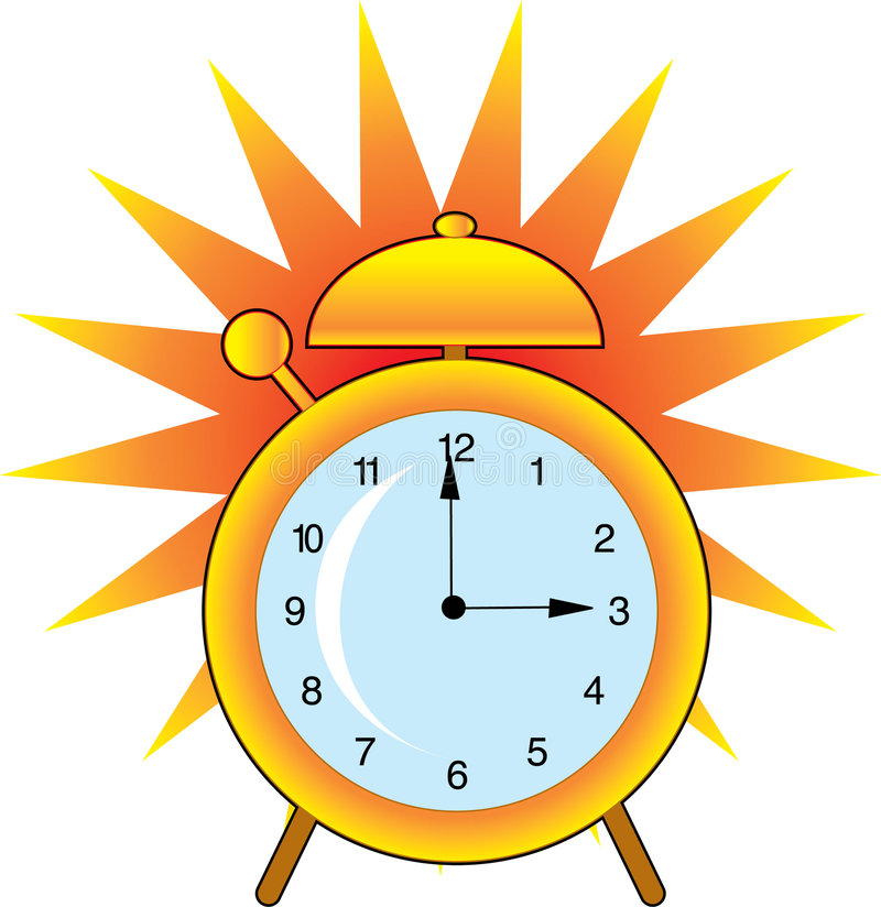 Alarm Clock. A ringing alarm clock with big bell and clanger royalty free illustration