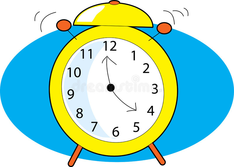 Alarm Clock. Ringing with two clappers on blue background stock illustration
